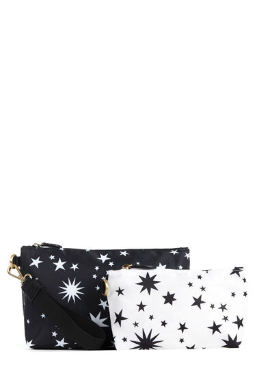 Warehouse, Star Print Wash Bag Set Black Pattern 0