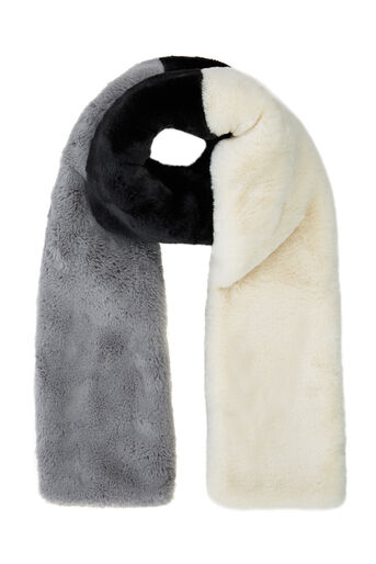 Warehouse, COLOUR BLOCK FAUX FUR SCARF Black Stripe 0