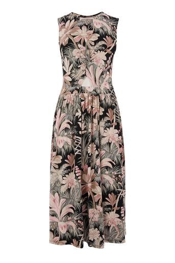 Warehouse, Opengewerkte jurk met amazoneprint Zwart met patroon 0