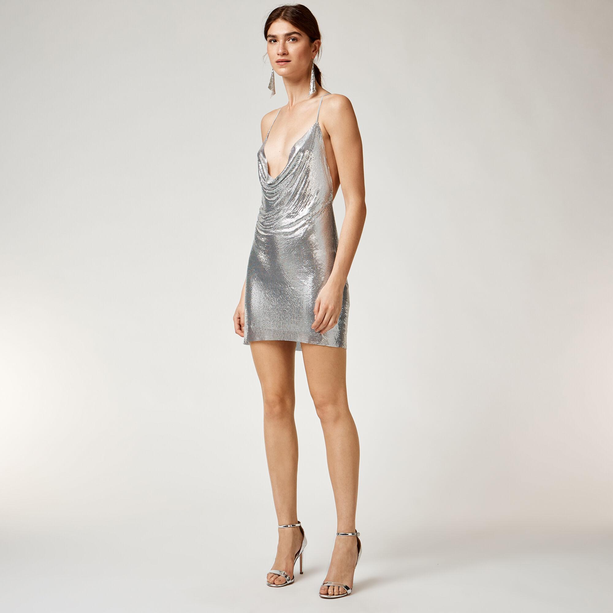 Warehouse, CHAIN MAIL DRESS Silver Colour 1