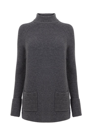 Warehouse, PATCH POCKET HIGH NECK JUMPER Dark Grey 0