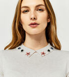Warehouse, EMBELLISHED COLLAR KNITTED TOP Cream 4