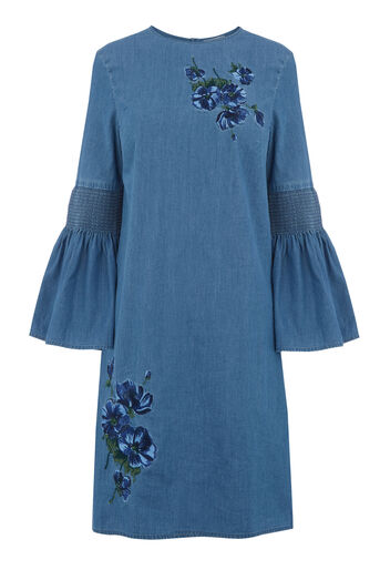 Warehouse, Embroidered Dress Mid Wash Denim 0