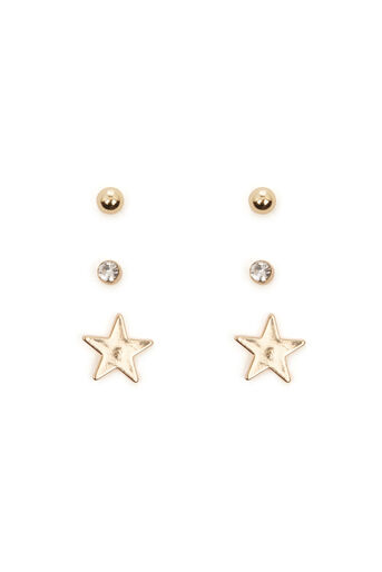 Warehouse, STAR STUD EARRING TRIPLE PACK Gold Colour 0