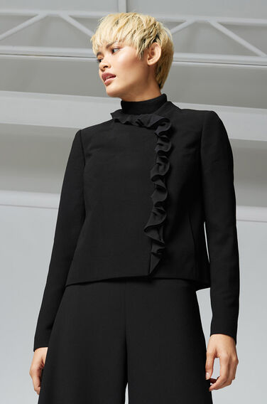 Warehouse, FRILL COLLAR JACKET Black 1