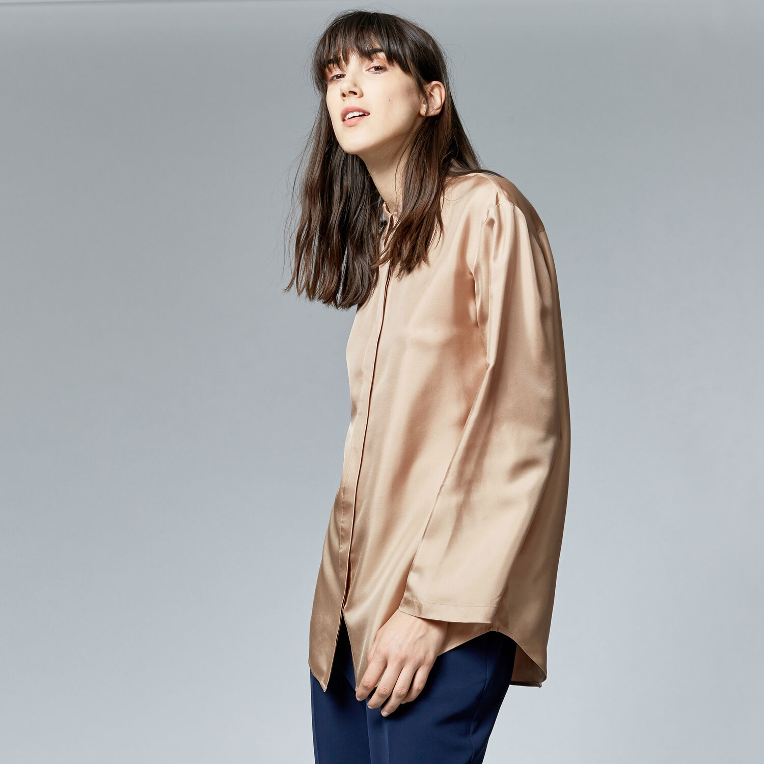 Warehouse, PLAIN SILK BLOUSE Camel 1
