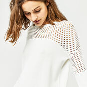 Warehouse, MESH PANEL LONGLINE JUMPER Cream 4