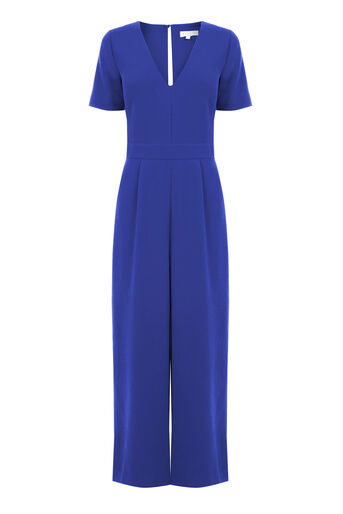 Warehouse, V Neck Jumpsuit Bright Blue 0