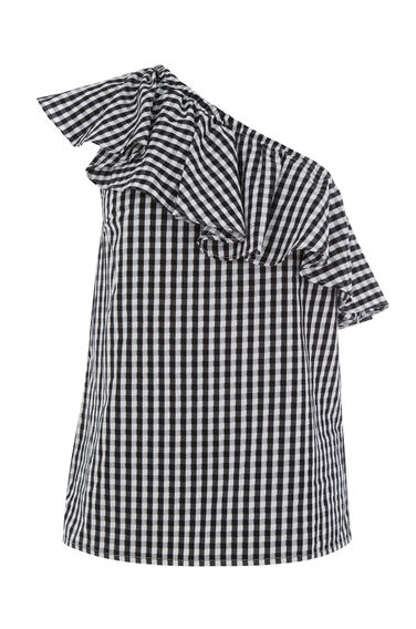 Warehouse, GINGHAM ONE SHOULDER TOP Black Pattern 0