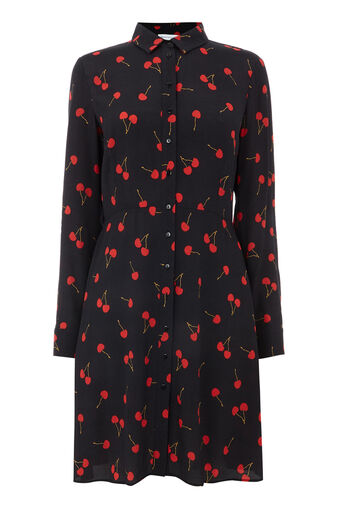 Warehouse, CHERRY PRINT SHIRT DRESS Black Pattern 0