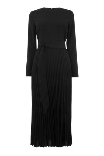 Warehouse, PLEATED MIDI DRESS Black 0