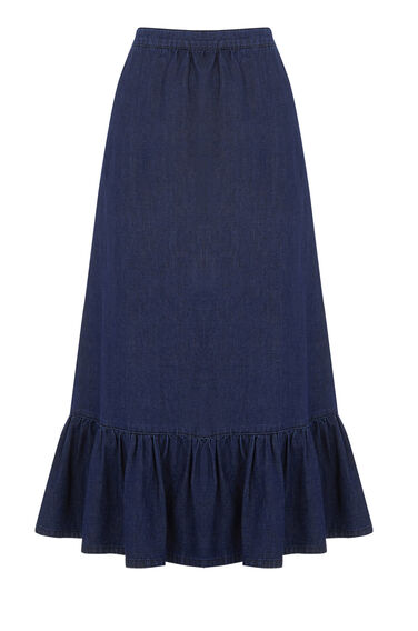 Warehouse, Ruffle Hem Skirt Dark Wash Denim 0