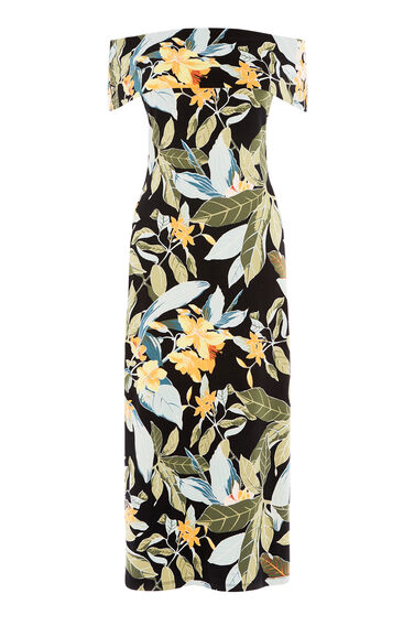 Warehouse, TROPICAL BARDOT MIDI DRESS Multi 0