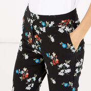 Warehouse, SPACED FLORAL SLIM TROUSERS Black 4