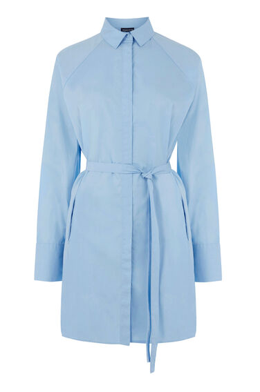 Warehouse, TIE WAIST SHIRT DRESS Light Blue 0