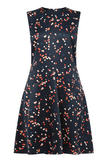 Warehouse, CONFETTI SPOT DRESS Blue Pattern 0