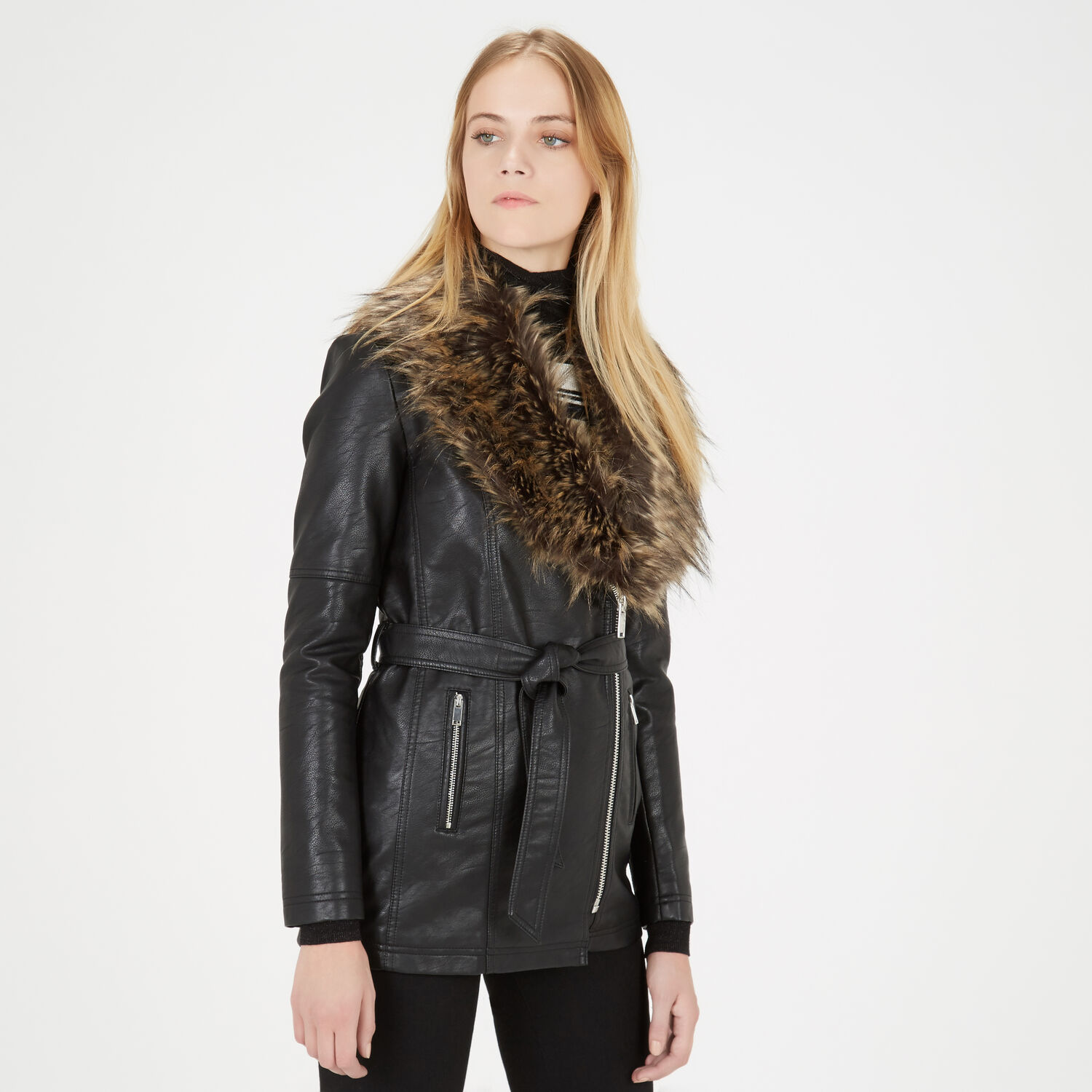 Warehouse, Faux Leather Belted Jacket Black 1