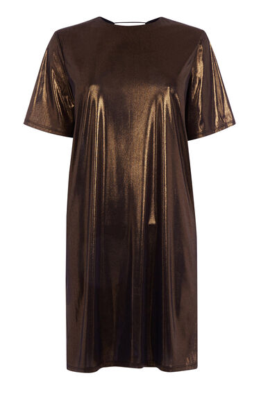 Warehouse, LAMÉ TEE DRESS Bronze Colour 0
