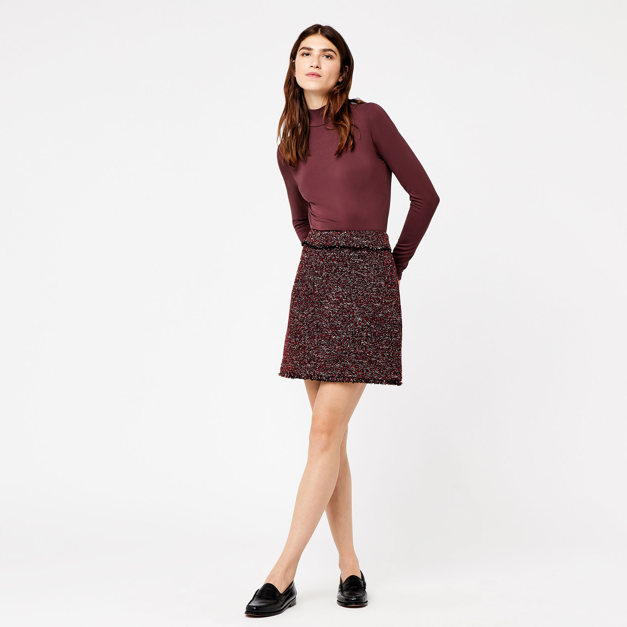 Warehouse, VICTORIA TWEED SKIRT Bright Red 1