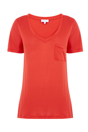 Warehouse, V NECK SMART TEE Bright Red 0