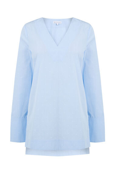 Warehouse, DOBBY V NECK TUNIC Light Blue 0