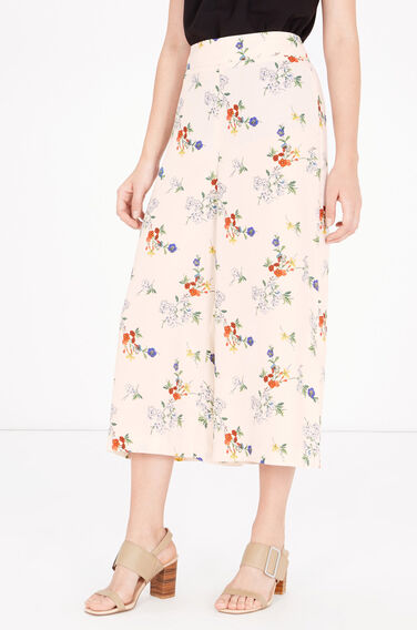 Warehouse, SPACED FLORAL CROPPED CULOTTES Cream 0