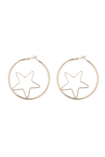 Warehouse, STAR INSERT HOOP EARRING Gold Colour 0