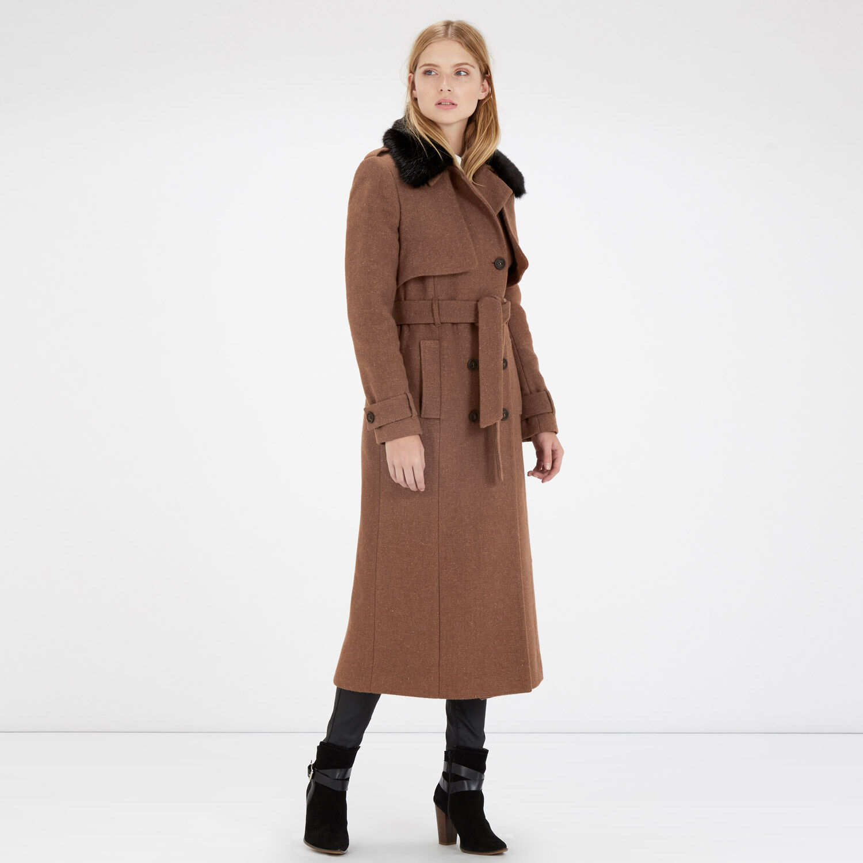Warehouse, Faux Fur Longline Trench Coat Mustard 1