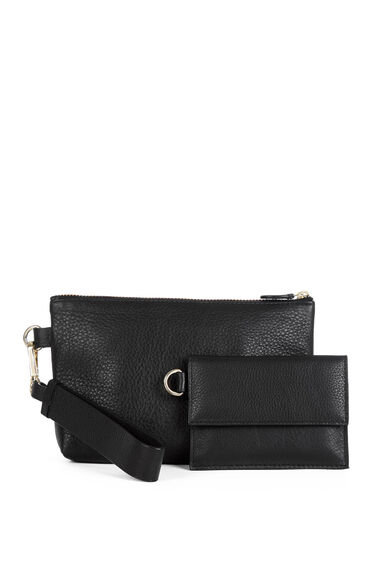 Warehouse, Leather Wrist Purse Set Black 0