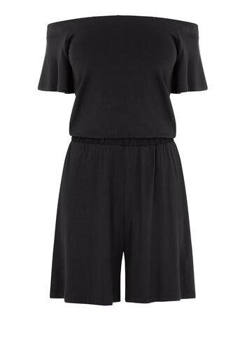 Warehouse, OFF SHOULDER PLAYSUIT Black 0