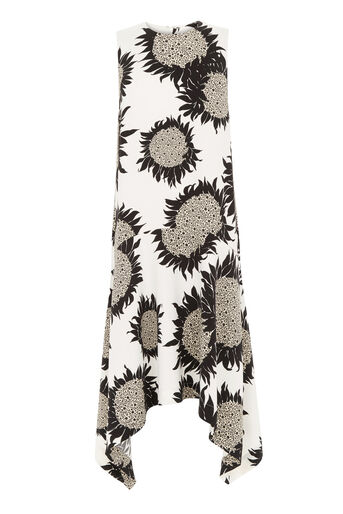 Warehouse, SUNFLOWER HANKY HEM DRESS Neutral  Print 0