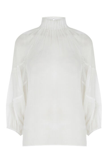 Warehouse, HIGH NECK BLOUSON TOP Cream 0