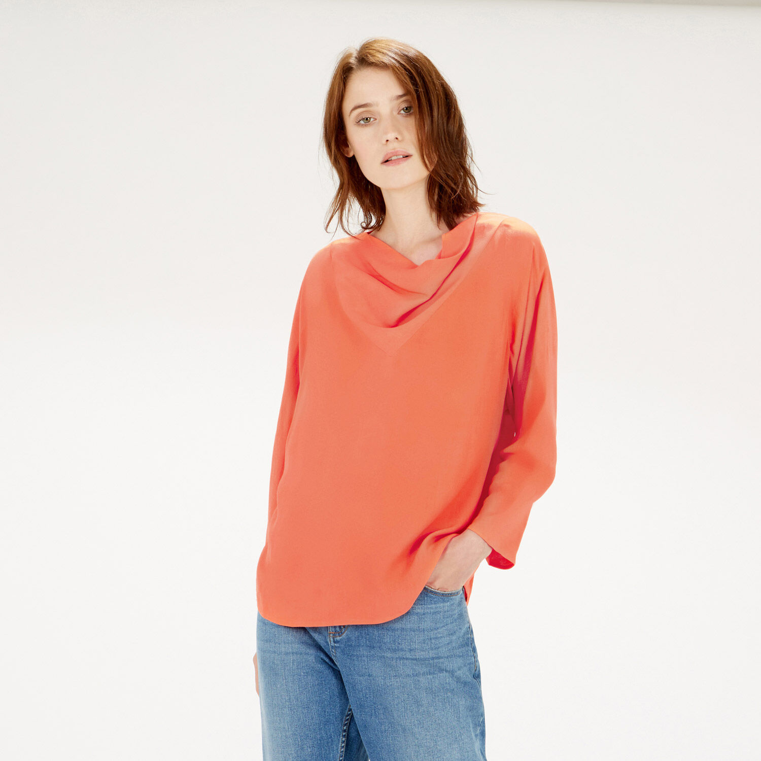 Warehouse, BATWING COWL NECK TOP Coral 1