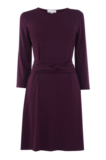 Warehouse, LONG SLEEVE TWIST BELT DRESS Berry 0