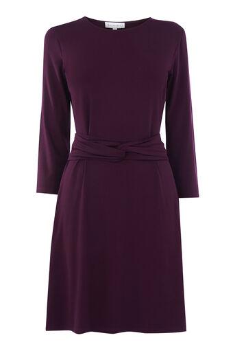 Warehouse, LONG SLEEVE TWIST BELT DRESS Berry 0