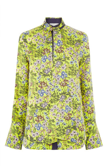 Warehouse, GARDEN POSY SILK BLOUSE Yellow 0