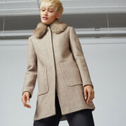 Warehouse, Swing Faux Fur Collar Coat Beige 1
