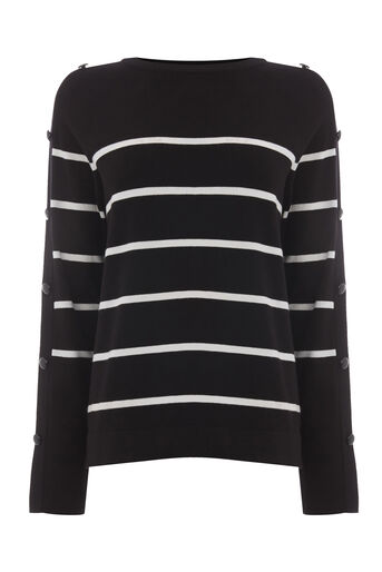 Warehouse, STRIPE BUTTON SLEEVE JUMPER Black Stripe 0