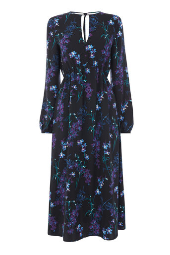 Warehouse, GILLY FLORAL MIDI DRESS Black Pattern 0