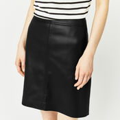 Warehouse, Faux Leather A Line Skirt Black 4