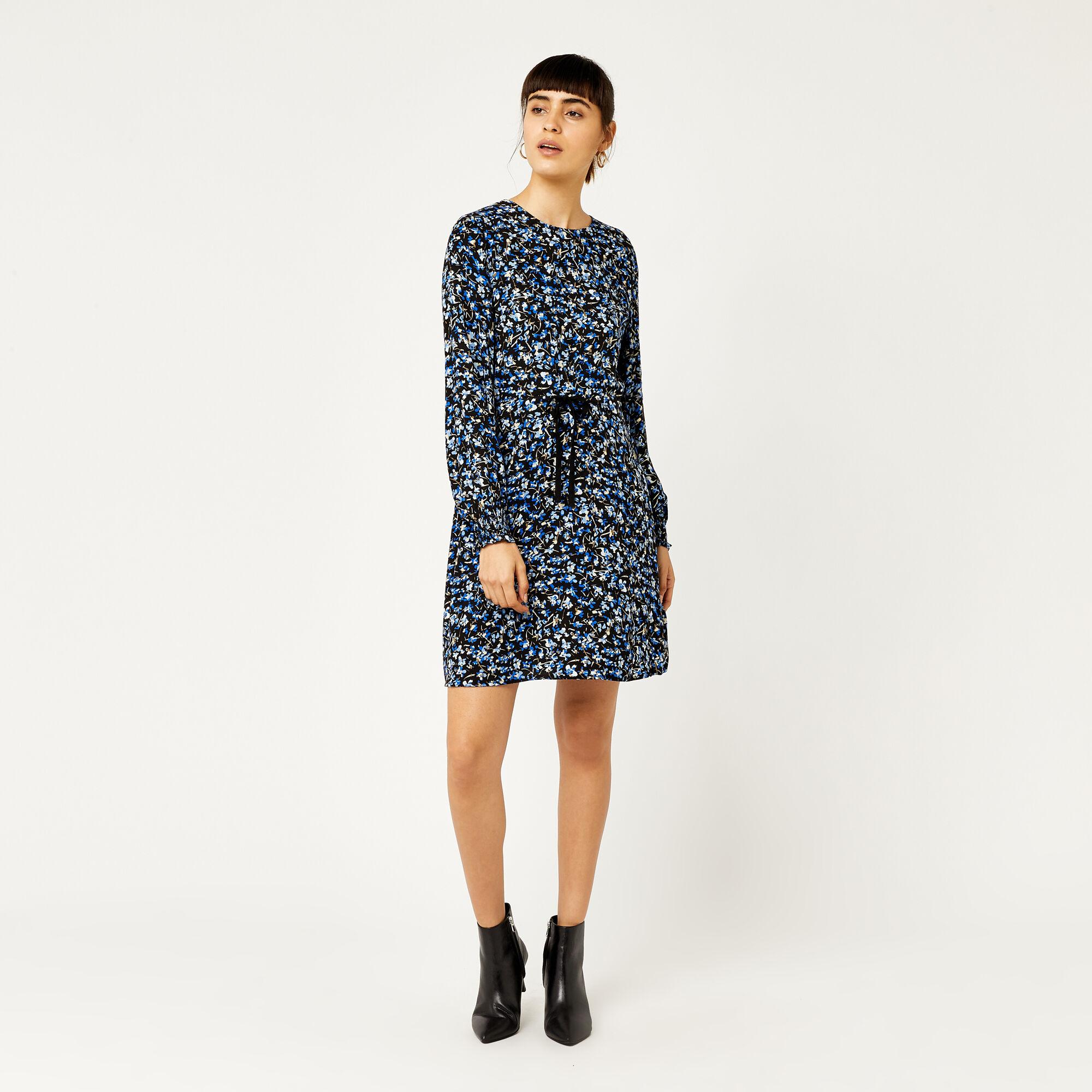 Warehouse, MINI MARIGOLD FLIPPY DRESS Blue Pattern 1