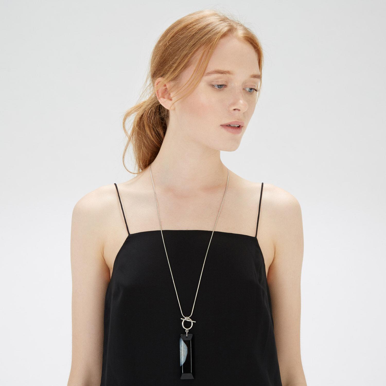 Warehouse, Semi Precious Long Necklace Black 1