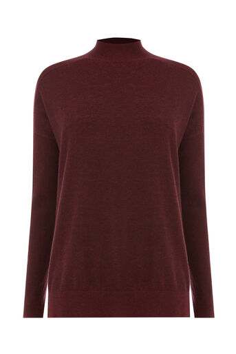 Warehouse, BOXY FUNNEL NECK JUMPER Berry 0