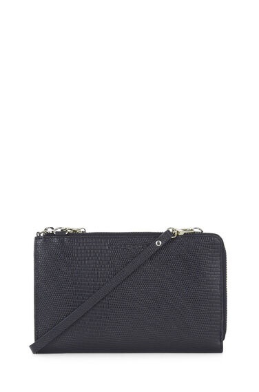 Warehouse, Leather Crossbody Wallet Navy 0