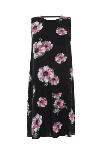 Warehouse, OCEAN FLORAL SWING DRESS Black Pattern 0