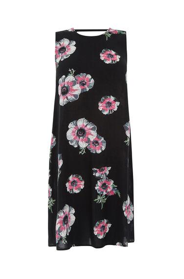 Warehouse, OCEAN FLORAL SWING DRESS Black Pattern 0