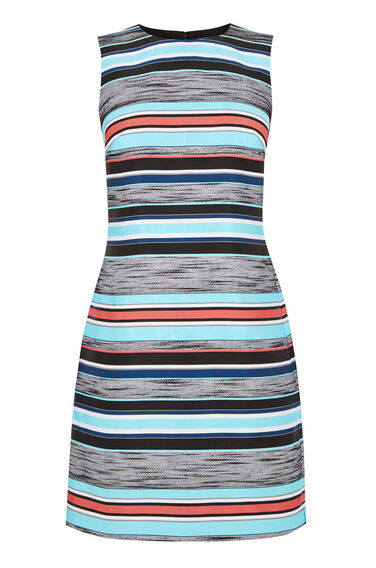 Warehouse, JACQUARD STRIPE SHIFT DRESS Multi 0