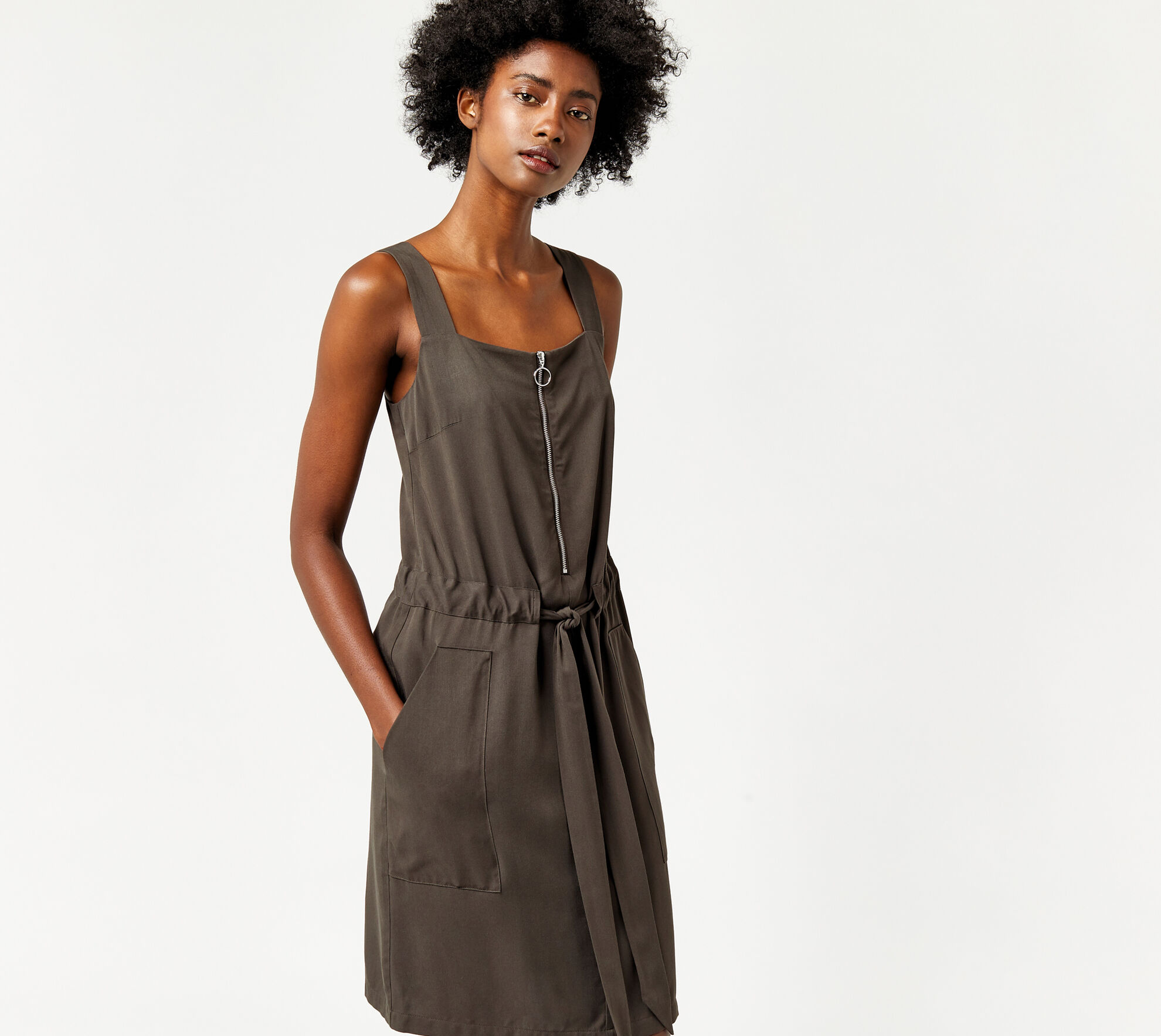 Warehouse, SLEEVELESS ZIP DETAIL DRESS Khaki 1
