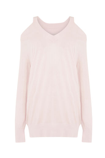 Warehouse, COLD SHOULDER V NECK JUMPER Light Pink 0