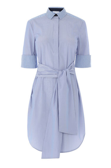 Warehouse, STRIPE SHIRT DRESS Blue Stripe 0